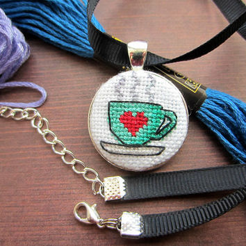 Teacup Cross Stitch Necklace, Green Necklace, Tea Cup Necklace, Handmade Necklace, Gift for Her, Green Pendant, Cute Necklace, OOAK