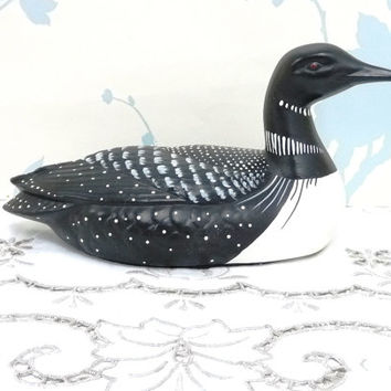 Loon Duck Decoy, Black and White Duck Ornament, Miniature Decoy, Bird Figurine, Resin, Hand Crafted, niknak, hand painted