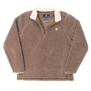 Southern Shirt Company Quarter Zip Sherpa Pullover in Walnut 1V001