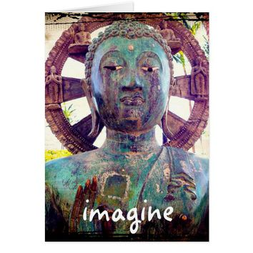 """Imagine"" quote Asian statue photo blank inside Card"