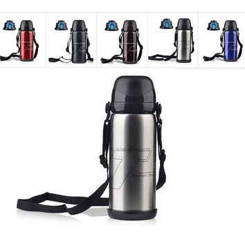 800ml Stainless Steel Vacuum Insulation Cup Outdoor Sports Water Bottle Large Capacity Riding Bottle Thermos High Quality