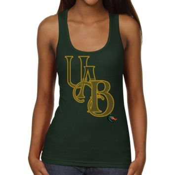 UAB Blazers Ladies Cipher Script Junior's Ribbed Tank Top - Green