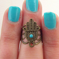 New Hamsa Above The Knuckle Ring - Silver Hamsa Knuckle Rings - by Tiny Box