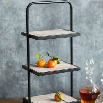 Rustic Wood and Metal Square Riser with Three Shelves - 27-1/4-in