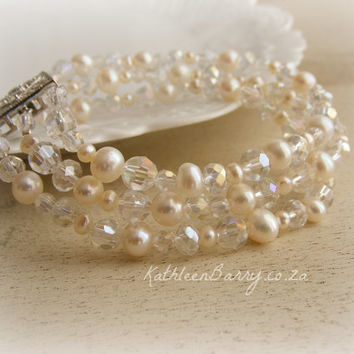 R595 Gabby wedding bracelet crsytal and pearl cuff with vintage style box clasp