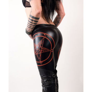 Death Pants - Pentagram WETLOOK Leggings Gothicleggings Gothic Heavymetal Deathrock Blackmetal Pants Tights fauxleather Hot