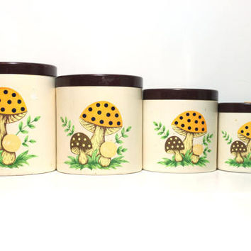 Vintage 70s Retro Mushroom Kitchen Canister Set of 4 | Yellow, Brown, Green & Beige Shroom Decor Canisters Jars 1970s Sears Made in Japan