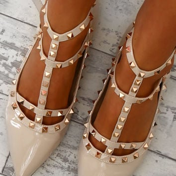 Between Me and You Nude Patent Studded Pumps