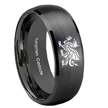 8MM Dragon Satin Black Dome Tungsten Carbide Laser Engraved Ring