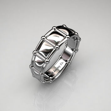 Modern Italian 950 Platinum Infinity Cushion Designer Wedding Band B1021B-PLAT