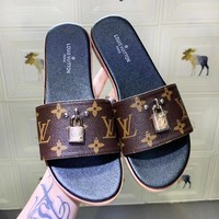 LV Louis Vuitton New fashion monogram print lock accessories shoes slippers women