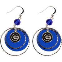 LogoArt Chicago Cubs Women's Mirrored Game Day Earrings - Silvertone/Royal Blue - http://www.shareasale.com/m-pr.cfm?merchantID=7124&userID=1042934&productID=525381997 / Chicago Cubs
