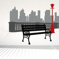 Park Bench with City Background Vinyl Wall Decal Sticker Graphic Mural | masterdesigndecals - Housewares on ArtFire