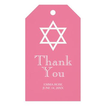 Star Of David Thank You Tag - Pink and Green