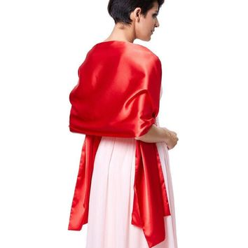 Bridal Wraps for Wedding Party Shrug Cape Bolero Evening Wrap Red White Cover Shoulder Satin Bridal Shawl Scarf