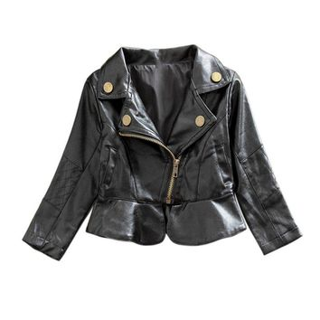 Fashion Kids Jacket PU Leather Girls Jackets Clothes Children Outwear For Baby Girls Boys Clothing Zipper Coats Costume 2-6Y
