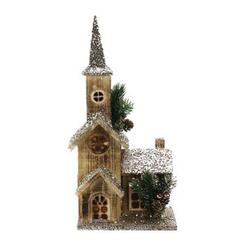 "17"" LED Lighted Country Rustic Brown Wooden Church Christmas Decoration"