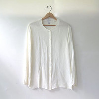 vintage white shirt. button front shirt. short sleeve shirt. natural white top. pocket tee shirt.