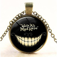 Alice in wonderland necklace cheshire cat We are all mad here pendant handmade bronze sliver choker necklace children gift 2017