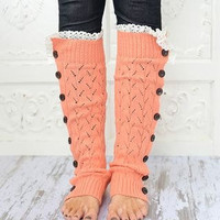 Coral  Knitted Button Down  Boot Cuffs