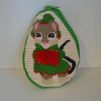 Vintage, Handmade, Needlepoint, Holiday mouse.