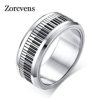 ZORCVENS Rotatable Piano Key Ring For Men Stainless Steel Band Stylish Spinner Band Music Lover Musician Gift Jewelry