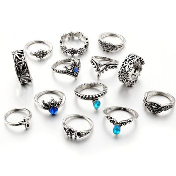 13pcs/Set Bohemia Antique Silver Crown Flower Unicorn Carved Rings Sets RhineStone Knuckle Rings for Women Jewelry 4841