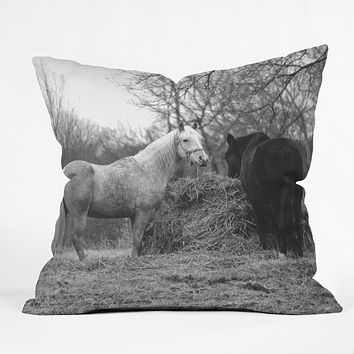 Allyson Johnson Horses Grazing Throw Pillow
