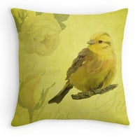 Yellow Vintage Style Bird Throw Pillow, Summer Scatter Cushion, 16x16, Gardener Gift