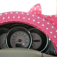 Pink Steering Wheel Cover with Matching Bow