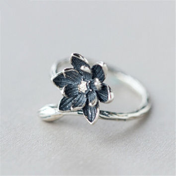 JaRia Fine Jewelry S925 Sterling Silver Lotus Flower Ring Adjustable Size Antique Chinese Silver Jewelry SR012