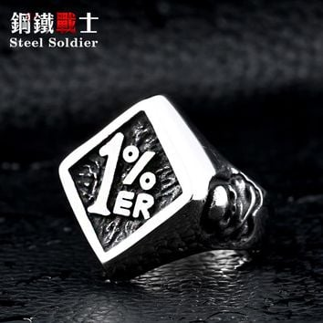 Steel soldier men biker Stainless Steel ring personality new design 1% Ring Motorcycle Ring Jewelry