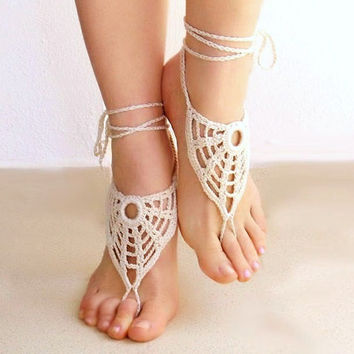 Barefoot sandals crochet light beige nude shoes
