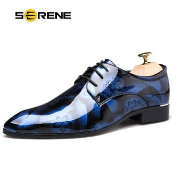 SERENE Brand Men Dress Shoes Big Size 37-50 Lace Party Shadow Patent Leather Luxury Fashion Groom Wedding Shoes Men Oxford Shoes