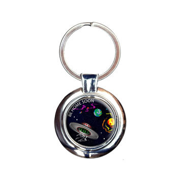Flying Saucer UFO Planets Space Be Home Soon Keychain