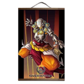 Overwatch Zenyatta Harmony And Discord Victory Pose Wooden Wall Scroll Poster