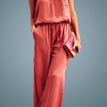 Red Spaghetti Strap Wide Leg Jumpsuit