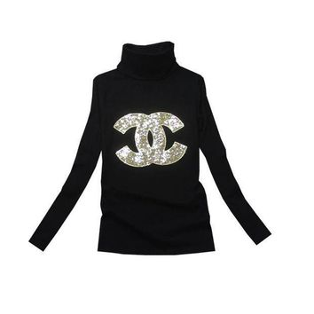 DCCK7XP Chanel Fashion High-Necked Sequins Long Sleeve Shirt Top Tee