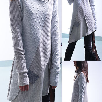 My zen - deconstructed layered knit tunic dress / asymmetrical boho tunic / cotton rib tunic dress / minimalism tunic sweater dress (Y1721)