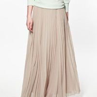 Pleated Chiffon A-Line Maxi Skirt