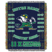 Notre Dame Fighting Irish NCAA National Championship Commemorative Woven Tapestry Throw (48x60)
