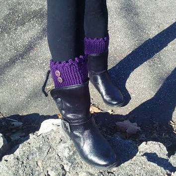 Purple Crochet Boot Cuff,  Purple Leg Warmer, Crochet Boot Toppers,