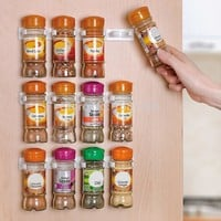 1 PC Spice Wall Rack Storage Plastic Kitchen Organizer 5 Cabinet Door Hooks