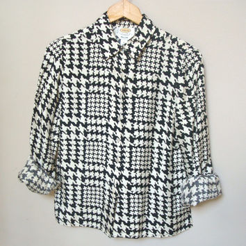 1980s Silk Blouse / Houndstooth Blouse / Herringbone Blouse / Silk Shirt