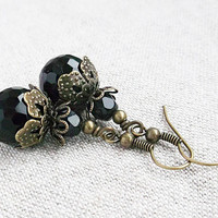 Neo victorian earrings, vintage style earrings, antique earrings, filigree earrings, steampunk earrings, brass - black crystal gothic coal