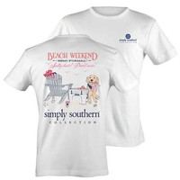 Simply Southern Preppy Collection Beach Weekend T-Shirt for Women LICBEACH-WHT-SS