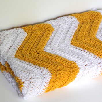 Crochet Chevron Blanket, Baby Blanket, Yellow and White Blanket, Home Decor, Baby Shower Gift, Chevron Blanket, Lap Blanket