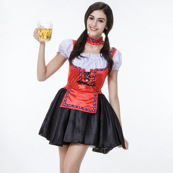 Classical Oktoberfest Fancy Dresses Adult Lady Burlesque Styles TUTU Skirt Germany Beer Maid Outfit Plus Size Halloween Costumes Alternative Measures - Brides & Bridesmaids - Wedding, Bridal, Prom, Formal Gown