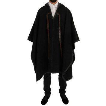Dolce & Gabbana Gray Wool Cashmere Leather Hooded Poncho