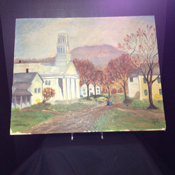 """Vintage Oil Painting - """"Church in Somerset"""" - Signed by Artist - 1957"""